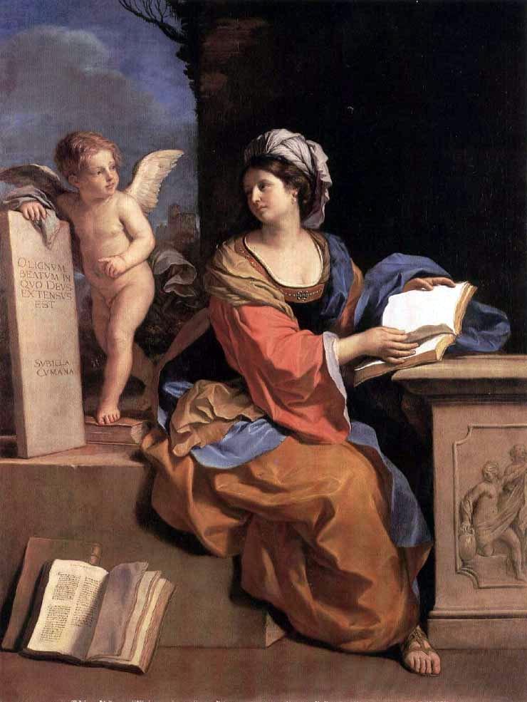 古耶奇諾,女先知古瑪葉安(Cumaean Sibyl),油彩畫布,1651,私人收藏。