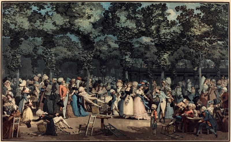德布庫,《盛裝的漫步》(La Promenade Publique), 彩色銅版,1792。