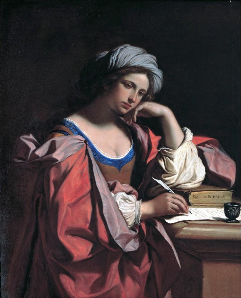 古耶奇諾,女先知芃絲安(Persian Sibyl),油彩畫布,1647,現藏於羅馬卡比托利歐博物館(Roma, Musei Capitolini)。