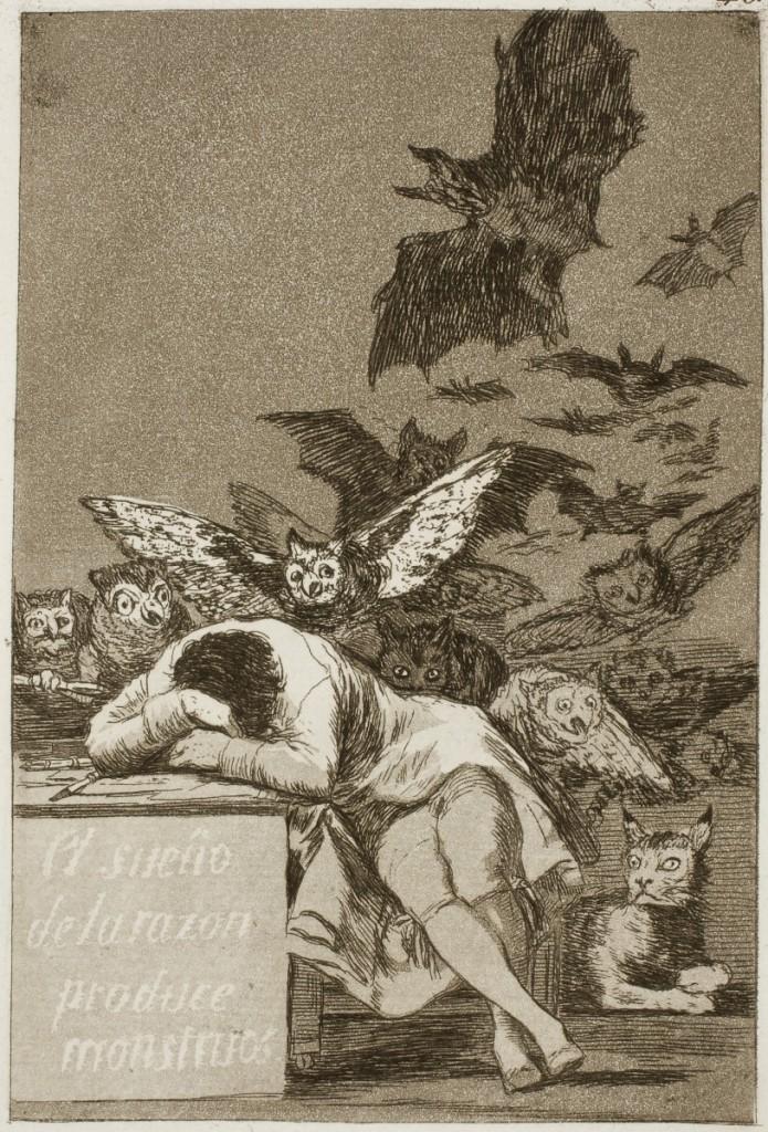 哥雅,《夢魘》,出自:《卡普麗求》(Caprichos)組曲第43張,1799,粉末腐蝕法。