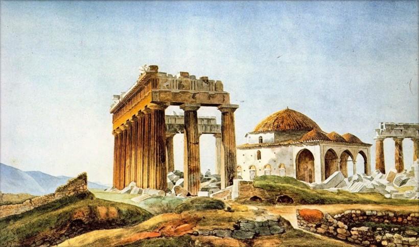 法國畫家派提耶(Pierre Peytier, 1793-1846),帕德嫩神殿廢墟中的清真寺,約1830年代。