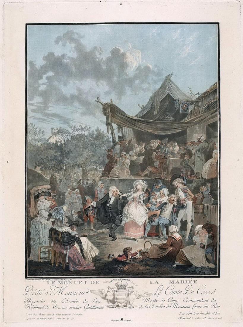 德布庫,《新娘小步舞曲》,彩色銅版,1786。