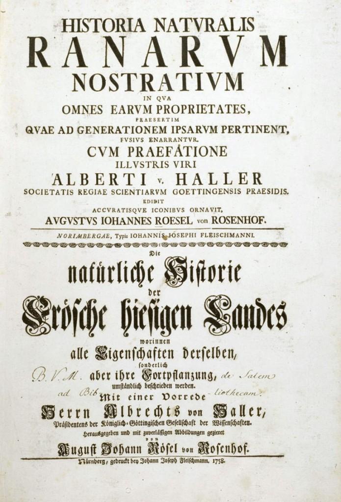 羅瑟大作《德國青蛙博物誌》(Historia naturalis Ranarum nostratium)書名頁。