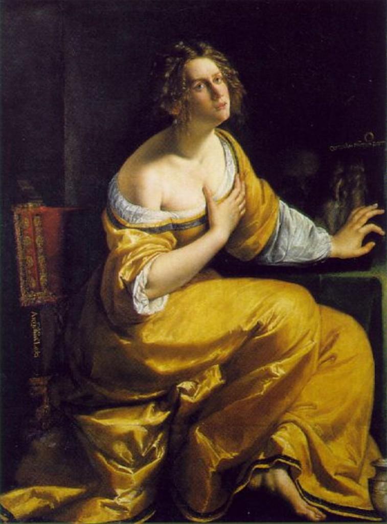 阿特米希雅‧曾提萊希(Artemisia Gentileschi, 1593-1652/1653),《抹大拉的馬利亞》,油彩畫布,1620-1625,佛羅倫斯彼提宮(Palazzo Pitti)。