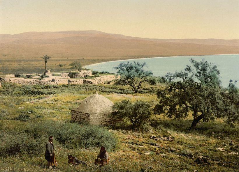 1900年左右加利利湖旁的阿爾馬達(Al-Majdal)景象,此地即為基督當時的抹大拉。