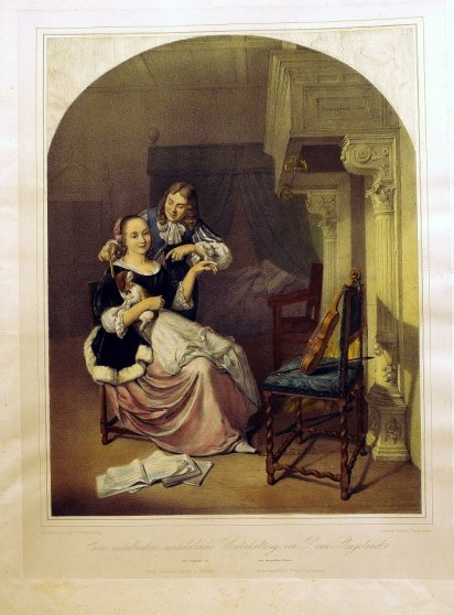 作者:彼得‧史林格蘭(Pieter Cornelisz van Slingelandt,1640–1691) 名稱:被打斷的音樂(Eine unterbrochene musikalische Unterhaltung)。 署名:德國Franz Hanfataeng彙編出版。 技法:石版上彩(Handcolored Lithography)。 年代:約1840。 尺寸:32 x 40cm/50 x 62cm (K-031)。