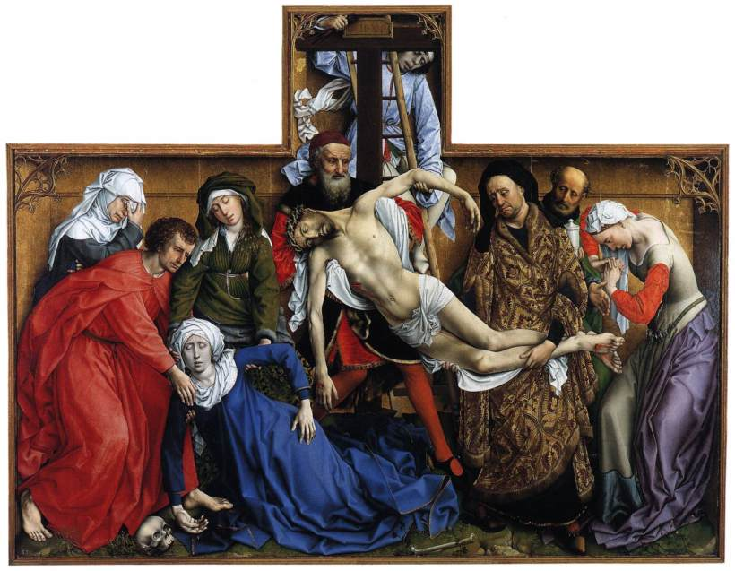 羅希爾•范德魏登(Rogier van der Weyden, 約1399年或1400年-1464),《下十字架》,油彩木板,約1435,馬德里普拉多美術館(Museo del Prado)。