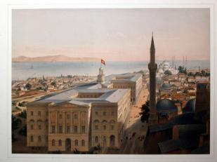 作者:Fossati, G./ Haghe, Louis (1806-1885) 名稱:君士坦丁堡一景(Constantinople)。 署名:P & D Colnaghi。 技法:套色石版,手繪上彩(tinted litho. with retouch)。 年代:1852。 尺寸:28,5 x 38,5 cm/ 46 x 56 cm。