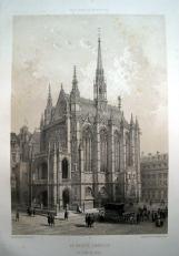 作者:Charpentier, Pierre Henri(1788-1854) 名稱:聖禮拜堂(La Sainte Chapelle au Palais de Justice)。 署名:左下角 Charpentier。 技法:套色石版插圖。 年代:1861。 尺寸:36 x 25 cm/ 50,5 x 33,5 cm。(D-P-03)