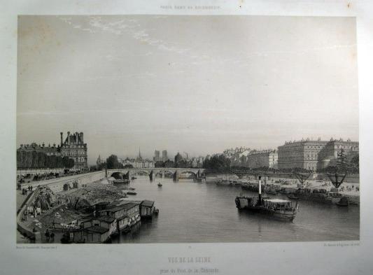 作者:Charpentier, Pierre Henri(1788-1854) 名稱:塞納河風光(Vue de la Seine, prise du Pont de la Concorde)。 署名:左下角 Charpentier。 技法:套色石版插圖。 年代:1861。 尺寸:36,5 x 25 cm/ 50,5 x 33,5 cm。(P D-P-13)