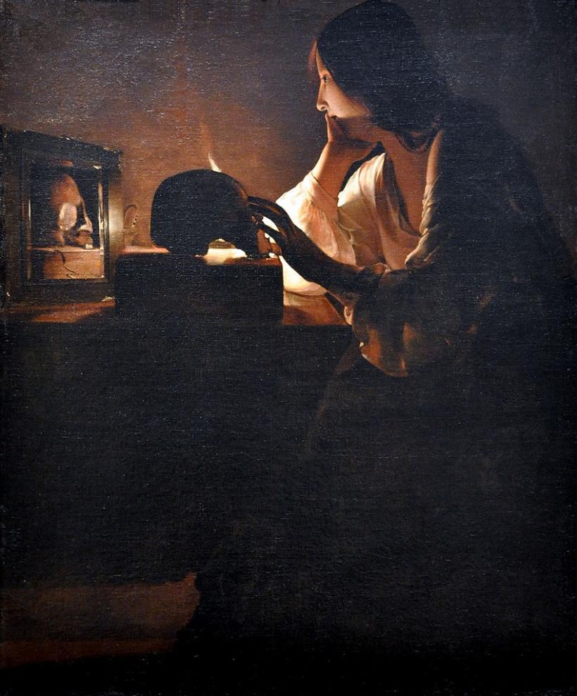 喬治•德•拉•圖爾,《懺悔中的聖抹大拉馬利亞》,油彩畫布,1640,華盛頓國家藝廊藏。