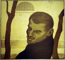 作者:Hofer, Karl (1878 – 1955) 名稱:強盜(Räuber)。 署名:畫面右下角Karl Hofer的圖案印記落款。 技法:彩色石版(colour lithography)。 年代:約1910。 尺寸:39,5 x 42,5/ 46,5 x 52,5 cm。(K-006)
