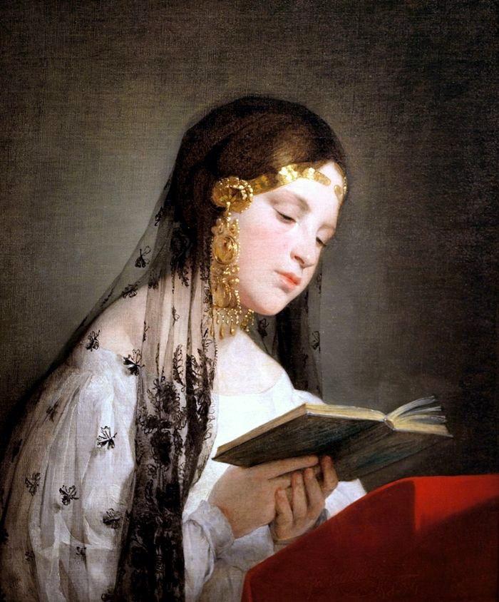 閱讀中的女孩,油彩畫布,1834。