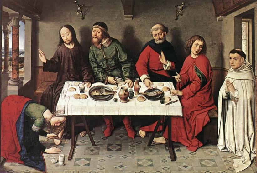 迪里克•鮑茲(Dieric Bouts,約1410/1420—1475),《在西門家中的耶穌》,油彩木板,約1440,柏林國家美術館(Staatliche Museen, Berlin)。我們看到路加福音中提到耶穌作客別人家時出現的女罪人。