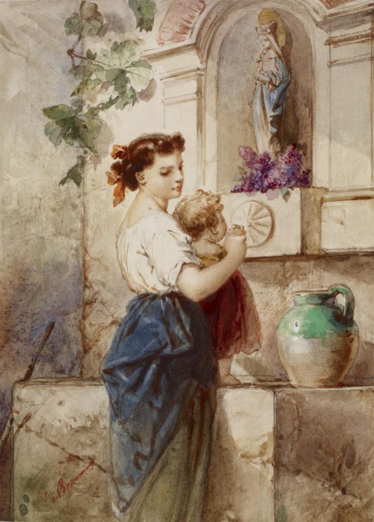 德‧波蒙,水井邊的少婦與小孩(Young Woman with Baby Beside Wall),水彩畫紙,19世紀中。