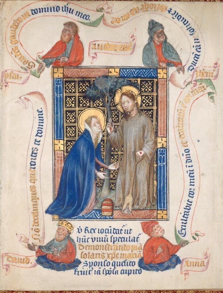 克萊弗斯的瑪格麗特祈禱書大師(The Master of the Hours of Margaret of Cleves),《不要摸我》(noli me tangere),出自:《窮人聖經》(Biblia Pauperum)插圖手稿,約1405。耶穌復活後,單獨向抹大拉的馬利亞顯現,並說:「不要摸我,因我還沒有升上去見我的父。你往我弟兄那裏去,告訴他們說,我要升上去見我的父,也是你們的父,見我的神,也是你們的神。」(約翰福音 20:17)