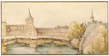 杜勒(Albrecht Dürer, 1471-1528),木橋,水彩,約1500