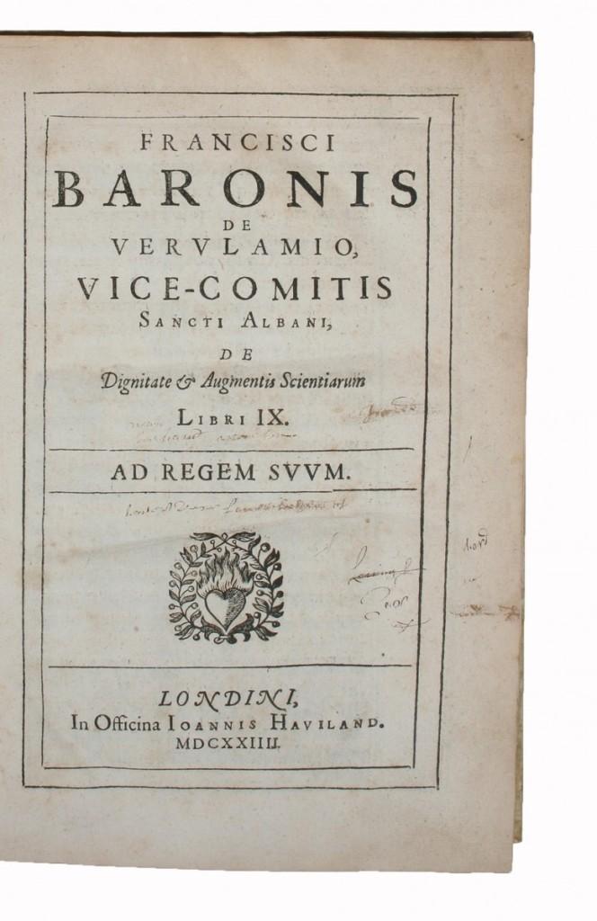 《論科學分類》(De Augmentis Scientiarum)一書第一版。