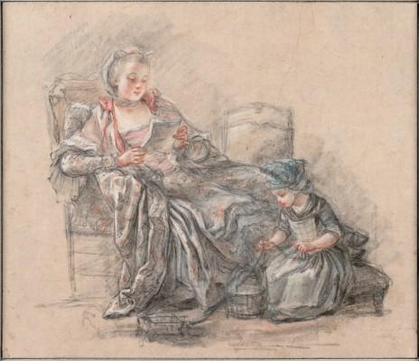 古愛宏(Francois Guérin, 約1751 – 1791) ,龐巴度夫人和女兒,彩色粉筆,1748年。