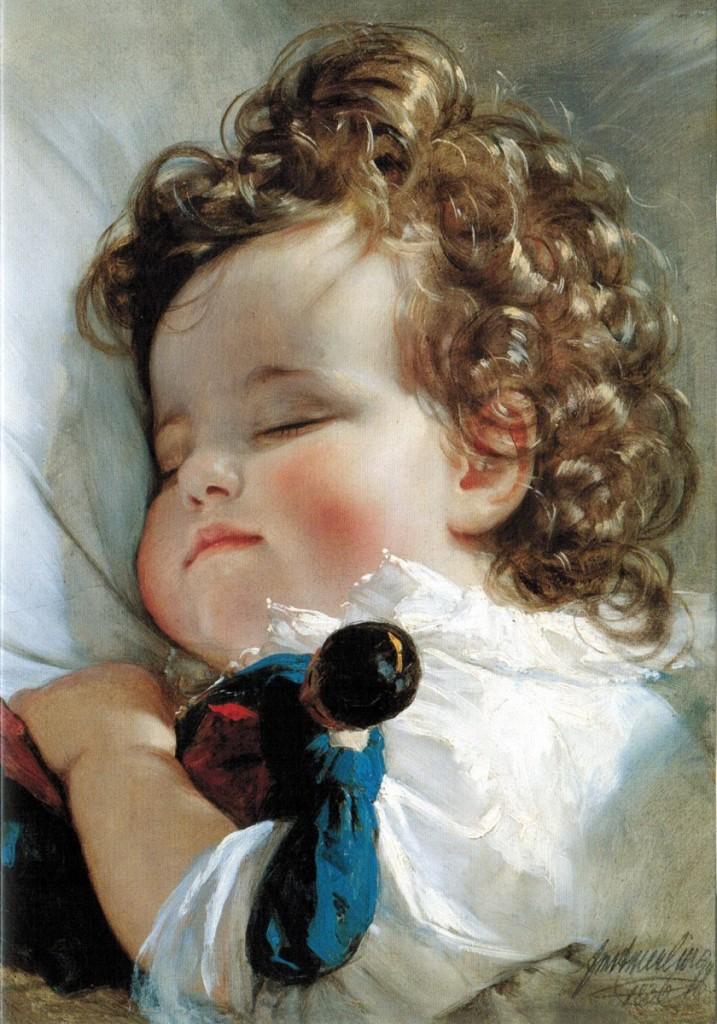 兩歲的列支敦士登公主瑪麗‧法蘭切斯卡(Marie Franziska von Liechtenstein, 1834-1909),油彩紙板,1836,列支敦士登美術館。