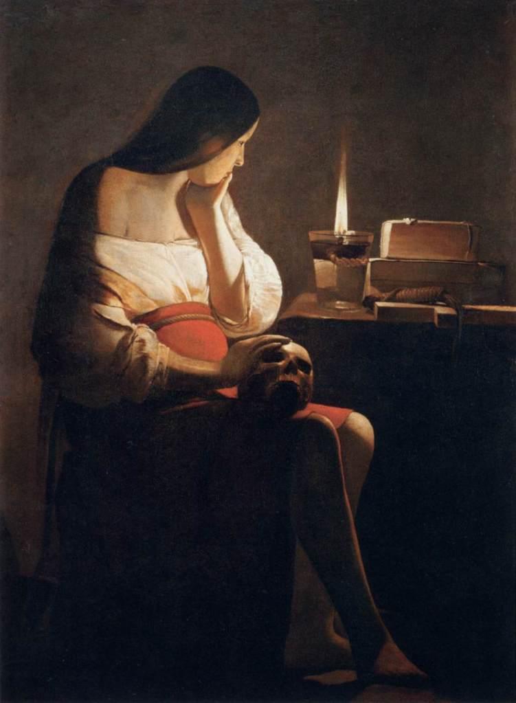 喬治•德•拉•圖爾,《燭光前的抹大拉馬利亞》,油彩畫布,約1640,羅浮宮藏。