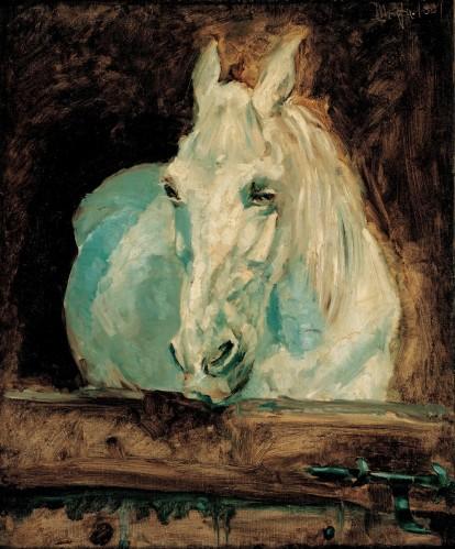 羅特列克(Henri Toulouse-Lautrec, 1864 – 1901),白馬,油彩畫布,1881年。
