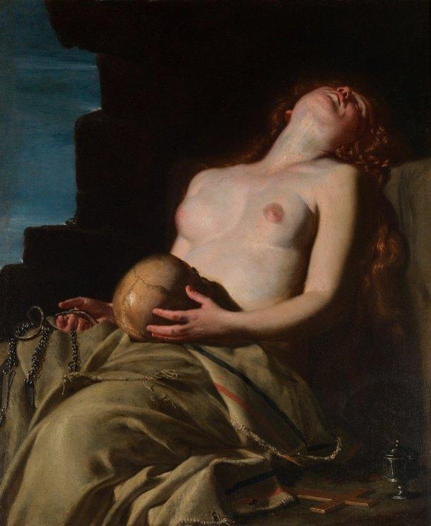 阿特米希雅‧曾提萊希(Artemisia Gentileschi, 1593-1652/1653),《悔罪中的抹大拉馬利亞》,油彩畫布,1625,羅馬古代藝術國家藝廊(Galleria Nazionale d'Arte Antica)。