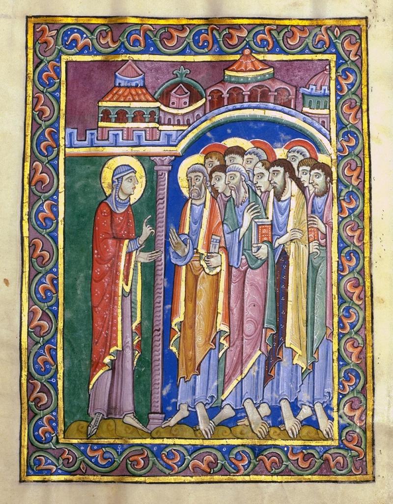 奧爾本斯修院修士,《抹大拉馬利亞告知門徒》,出自:《奧爾本斯聖詠經》(St Albans Psalter)插圖手稿,十二世紀。