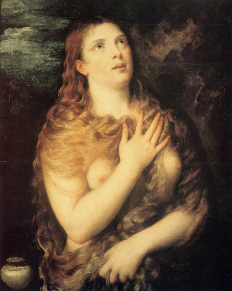 提香(Tiziano Vecelli或Titian, 約1488/1490 – 1576),《懺悔中的抹大拉馬利亞》,油彩畫布,約1533,佛羅倫斯彼提宮(Palazzo Pitti)。