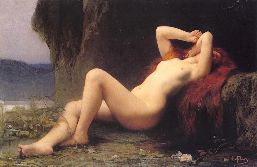 勒費弗爾(Jules Joseph Lefebvre, 1836 – 1911),《山洞中的抹大拉馬利亞》,油彩畫布,1876。