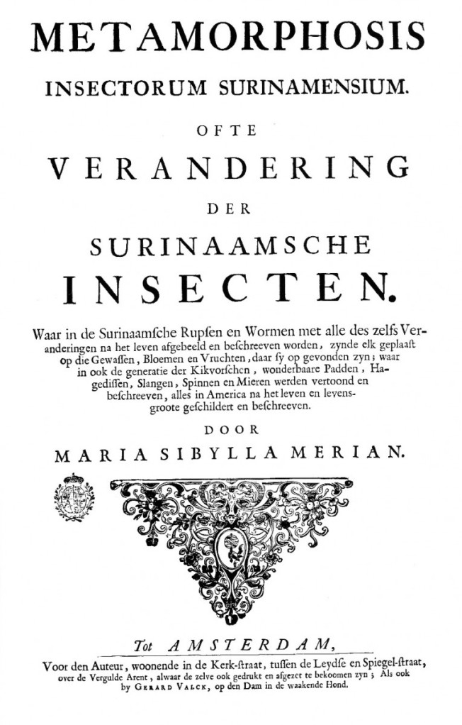 瑪麗亞•西碧拉•梅里安(Maria Sibylla Merian, 1647-1717)的《蘇利南昆蟲之生長變化》(Metamorphosis insectorum Surinamensium)書名頁。