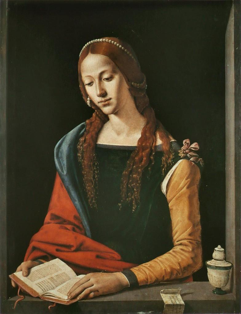 皮耶羅•迪•科西莫(Piero di Cosimo, 1462 – 1522),《抹大拉的瑪利亞》,油彩木板,約1500 – 1510,羅馬古代藝術國家藝廊(Galleria Nazionale d'Arte Antica)。