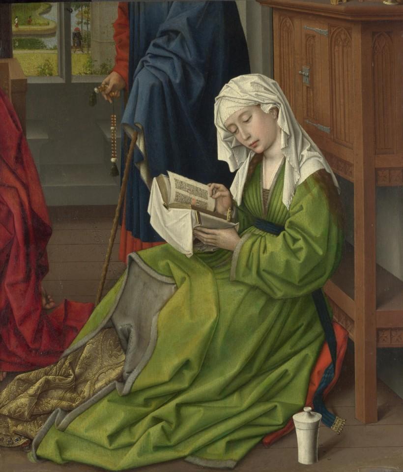羅希爾•范德魏登(Rogier van der Weyden, 約1399年或1400年-1464),《閱讀中的抹大拉馬利亞》,油彩木板,約 1435-1438,倫敦國家藝廊(National Gallery)。