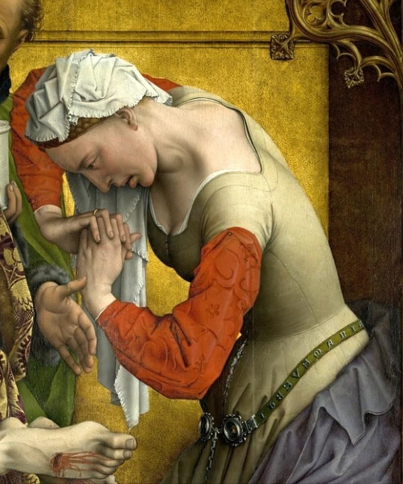 羅希爾•范德魏登,《下十字架》局部。抹大拉的馬利亞哀痛耶穌的受難。