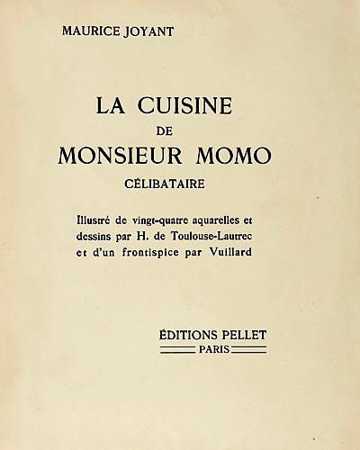 《默默先生的烹飪藝術》(La Cuisine de Monsieur Momo )書名頁。