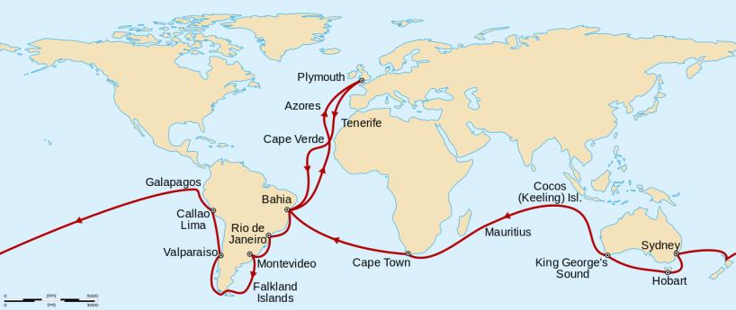 達爾文參與的第二次小獵犬號環球行程。