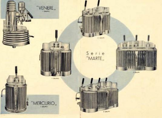 1950年代,義式拉霸機的宣傳單,可以看出當時著重美觀的設計。