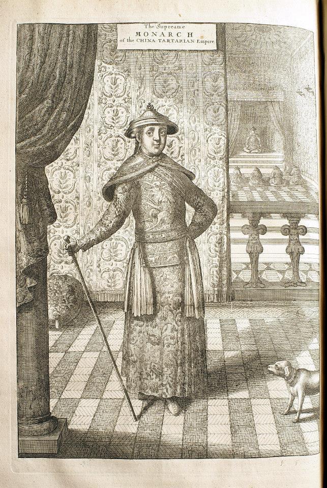 《荷使出訪中國記》英文版插圖:康熙皇帝。
