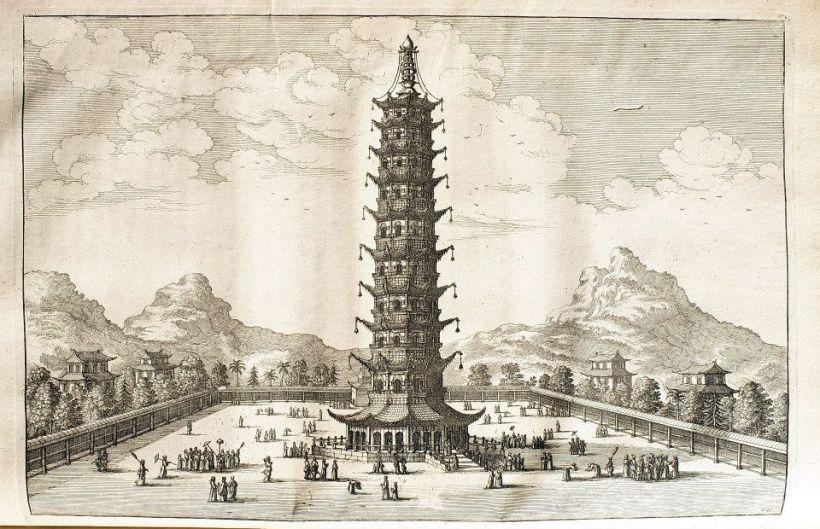 《荷使出訪中國記》英文版插圖:南京琉璃塔。