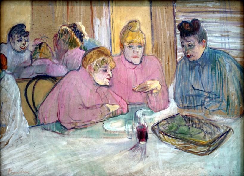 羅特列克,用餐的青樓女子(Ces dames au réfectoire ),油彩紙板,1893-1895,布達佩斯美術館(Budapest Museum of Fine Arts)。