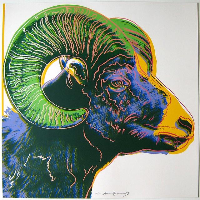 安迪•沃荷,大角羊,絹版,1983。