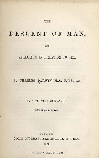 《人類的起源》第一版書名頁。