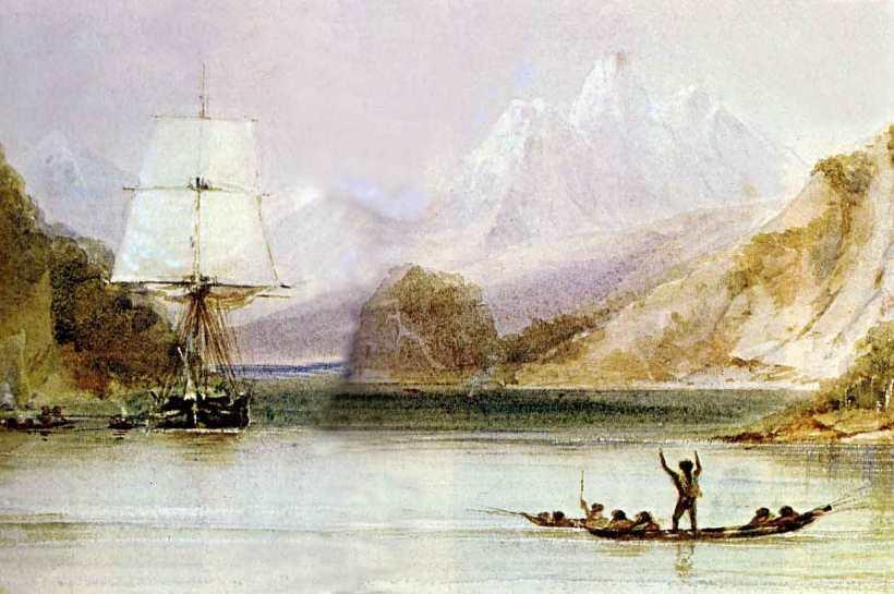 在火地群島(Tierra del Fuego)的小獵犬號,隨船藝術家麥騰斯(Conrad Martens)繪製。