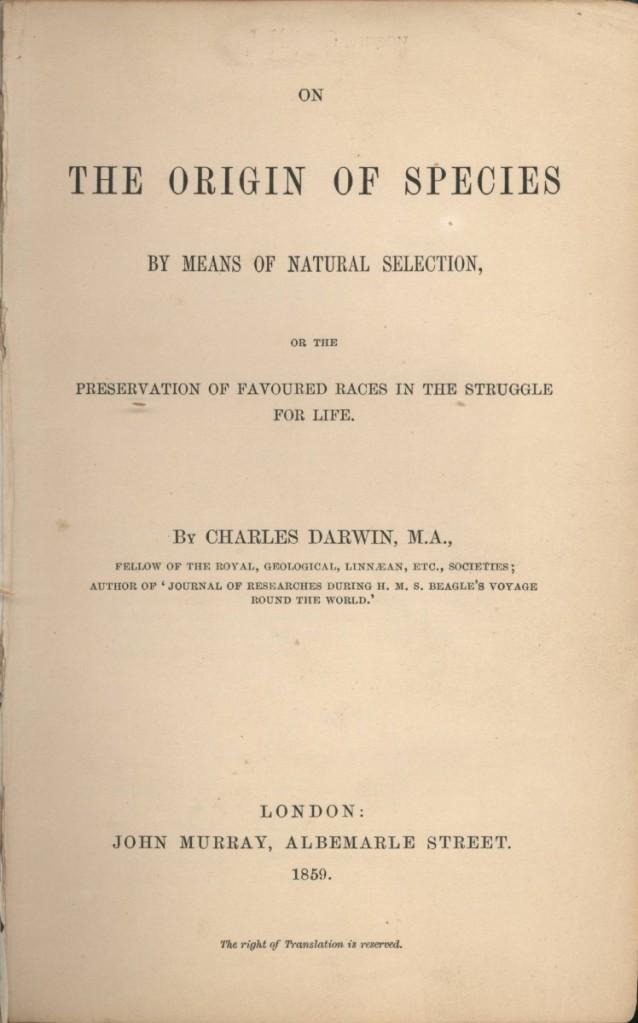《物種起源》第一版書名頁。