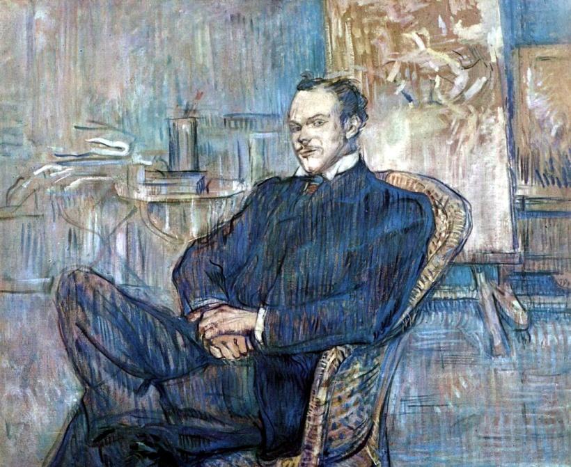 羅特列克,詩人保羅·勒克萊克(Paul Leclerq)肖像,油彩卡紙,1897,巴黎奧賽美術館(Musée d'Orsay)。