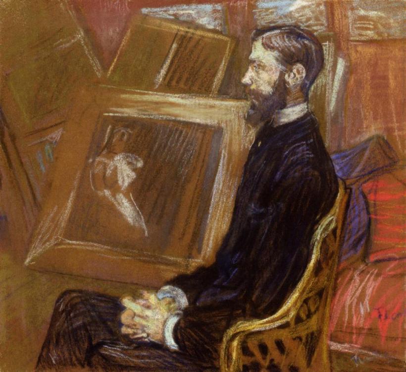 羅特列克,喬治‧亨利-曼紐耶側身肖像,粉彩紙板,1891。