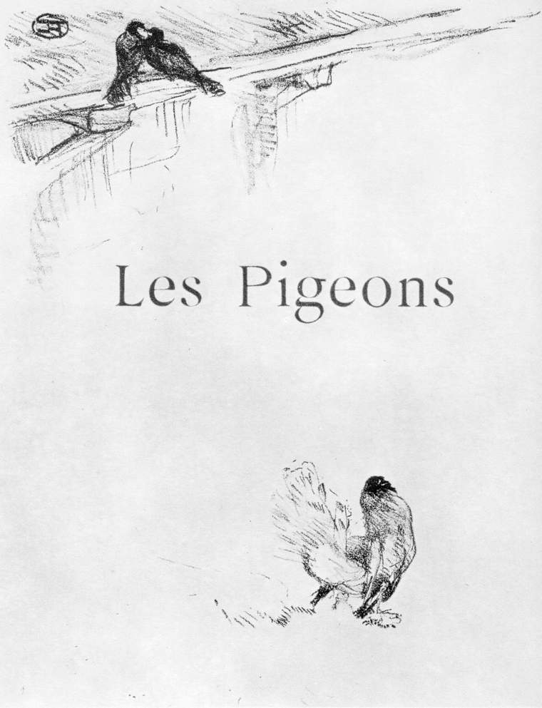羅特列克,鴿子,石版,1897。出自:Histoires naturelles, by Jules Bernard , Paris : Henry Floury, 1899。