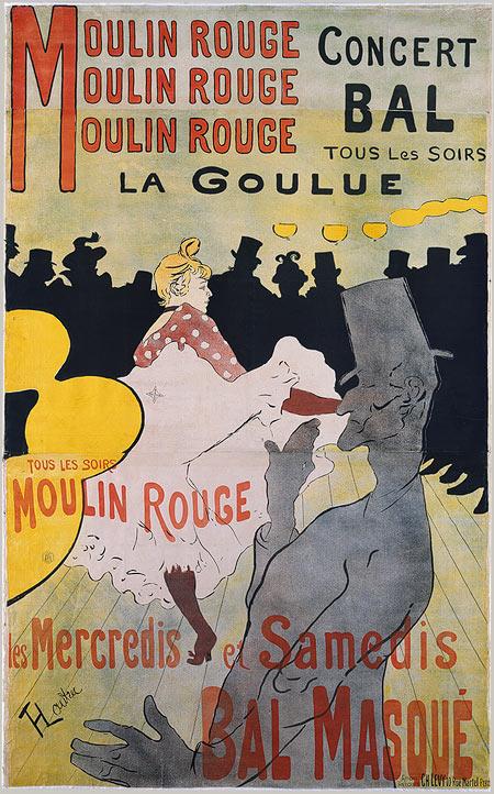羅特列克,紅磨坊:舞女拉‧古留(La Goulue ),彩色石版,1891。