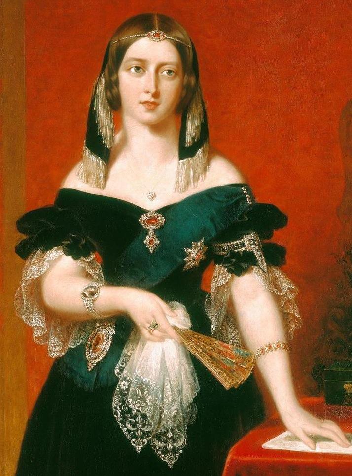 約翰‧帕崔莒(John Partridge, 1789 – 1872),維多利亞女王肖像局部。