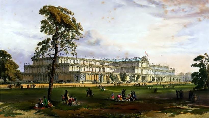 1851年倫敦博覽會海德公園玻璃宮外觀。
